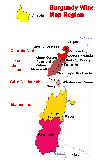burgundy area wine region map