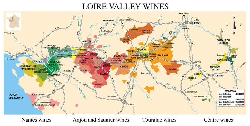 loire valley map of the wine region - terroirs travels can take you there!